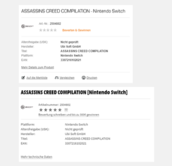 Assassin's Creed Nintendo Switch retail listings