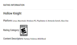 Hollow Knight ESRB Rating