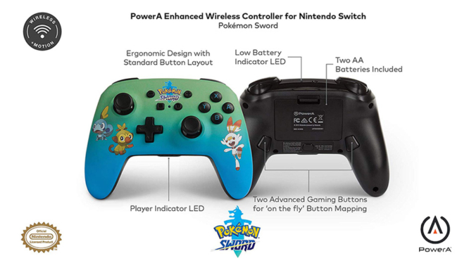 Layout of Pokemon Sword Wireless Switch Controller