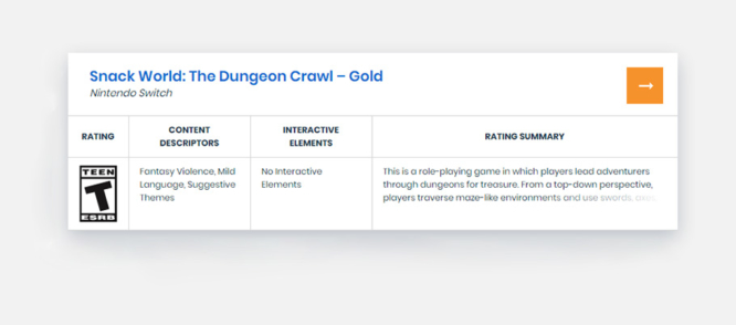 Snack World Dungeon Crawl Gold ESRB Rating