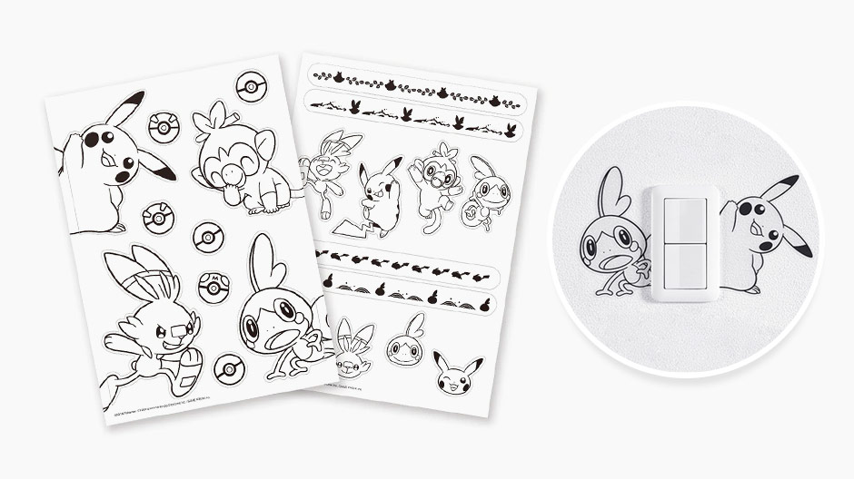 Pokemon Sword and Shield decal wall decorations featuring starters