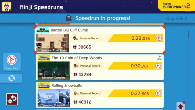 Ninji Speedruns Menu Super Mario Maker 2